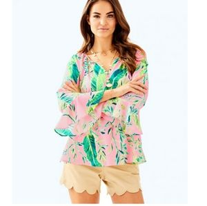 Lilly Pulitzer Willa Floral Flounce Sleeve Top XL